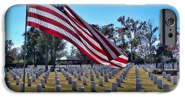 Soldiers National Cemetery Digital iPhone Cases - In Honor Of Our Troops iPhone Case by Victor Montgomery