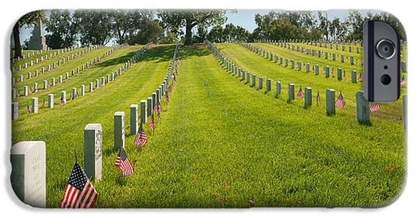 Old Glory iPhone Cases - In memorium - Los Angeles National Cemetery iPhone Case by Ram Vasudev