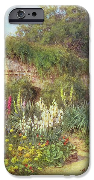 Hollyhock iPhone Cases - In Munstead Wood Garden iPhone Case by Helen Allingham