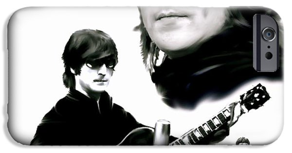 Beatles iPhone Cases - In My Life  John Lennon iPhone Case by Iconic Images Art Gallery David Pucciarelli