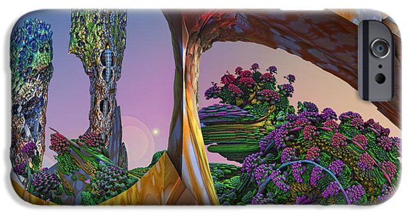 Fractal Other Worlds iPhone Cases - In My Own Little World iPhone Case by Mary Almond