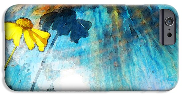 Beauty Mixed Media iPhone Cases - In My Shadow - Yellow Daisy Art Painting iPhone Case by Sharon Cummings