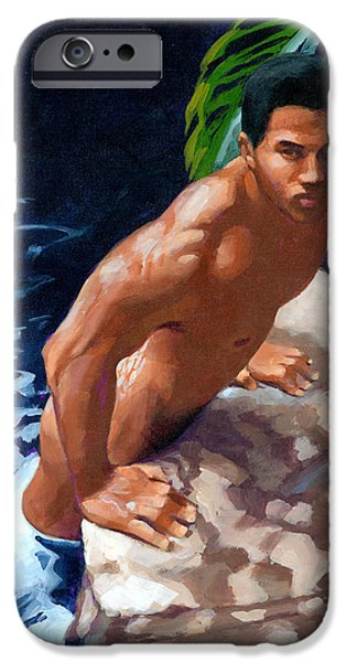 Figures Paintings iPhone Cases - In or Out iPhone Case by Douglas Simonson