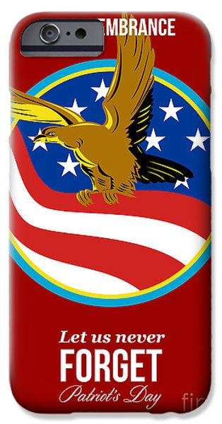 Patriots Day iPhone Cases - In Remembrance Patriots Day Retro Poster iPhone Case by Aloysius Patrimonio