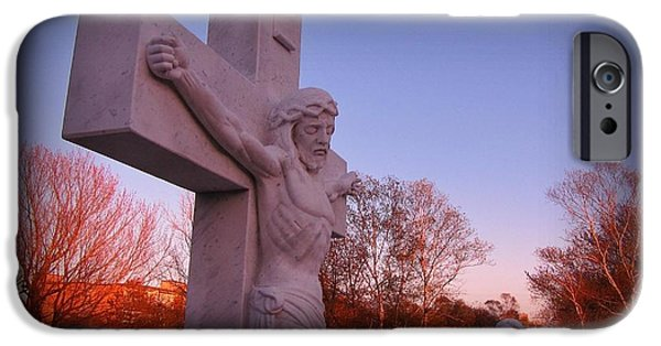 Crucifixtion iPhone Cases - In Sacrifice is Peace iPhone Case by John Malone