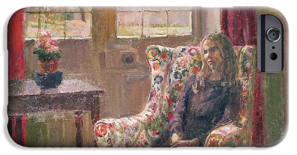 Mourning iPhone Cases - In The Armchair By The Window iPhone Case by Joyce Haddon
