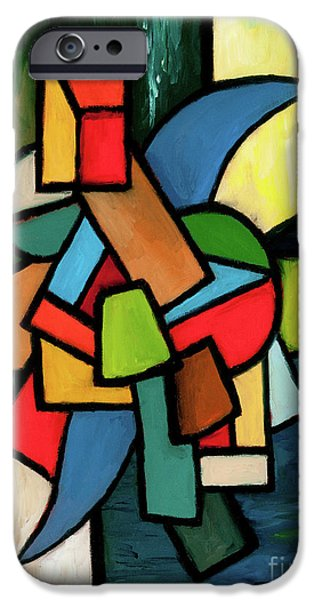 Red Abstract iPhone Cases - In The Beginning iPhone Case by Larry Martin