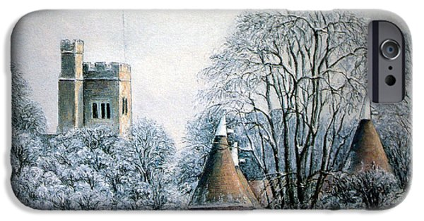 Christmas Greeting Pastels iPhone Cases - In The Bleak Midwinter iPhone Case by Rosemary Colyer