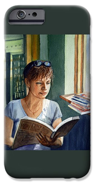 Realistic Art iPhone Cases - In The Book Store iPhone Case by Irina Sztukowski