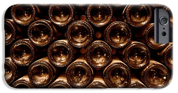 Wine Bottles Photographs iPhone Cases - In the Cellar iPhone Case by Jon Neidert