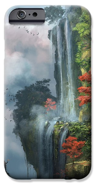 Dreamscape Digital Art iPhone Cases - In The Clouds iPhone Case by Steve Goad