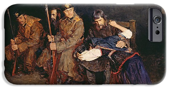 Guard iPhone Cases - In The Corridor Of The District Court, 1897 Oil On Canvas iPhone Case by Nikolaj Alekseevich Kasatkin