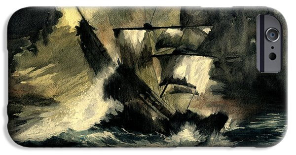 Pirate Ship iPhone Cases - In The Dark iPhone Case by Melly Terpening