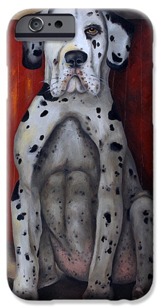 Great Dane Puppy iPhone Cases - In The Dog House iPhone Case by Leah Saulnier The Painting Maniac