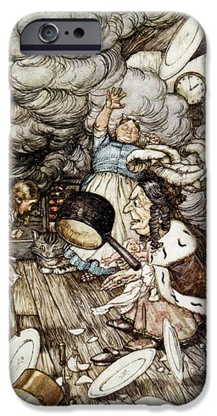 Cook iPhone Cases - In The Duchesss Kitchen, Illustration To Alices Adventures In Wonderland By Lewis Carroll 1832-98 iPhone Case by Arthur Rackham