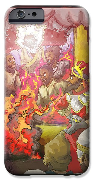 Book Of Daniel iPhone Cases - In the fire Shadrach Meshach and Abednego iPhone Case by Ronnell Williams