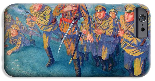 Wwi iPhone Cases - In The Firing Line, 1916 Oil On Canvas iPhone Case by Kuzma Sergeevich Petrov-Vodkin