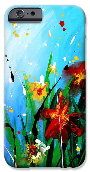 Free Form Paintings iPhone Cases - In the Garden iPhone Case by Kume Bryant