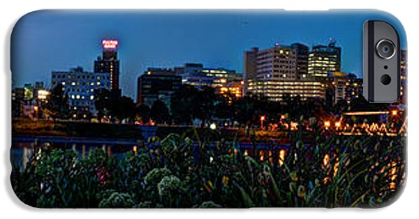 Night Lamp iPhone Cases - In the Glow of Harrisburg iPhone Case by Deborah Klubertanz