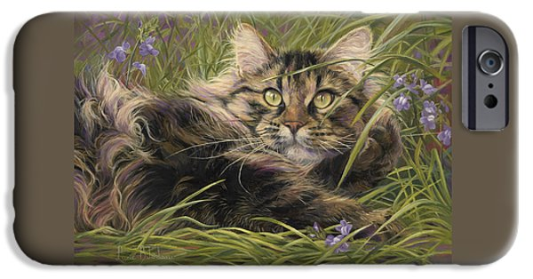 Orange Tabby iPhone Cases - In The Grass iPhone Case by Lucie Bilodeau