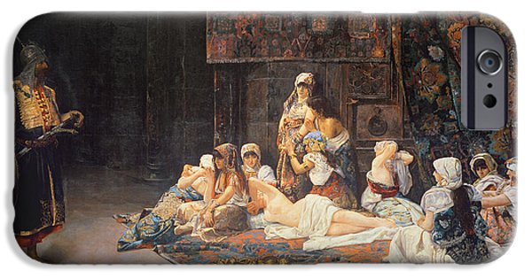 Seraglio Paintings iPhone Cases - In the Harem iPhone Case by Jose Gallegos Arnosa