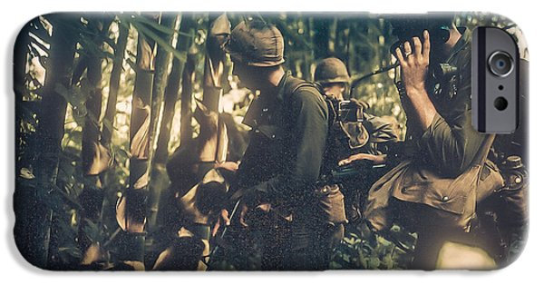 Army Men iPhone Cases - In The Jungle - Vietnam iPhone Case by Edward Fielding