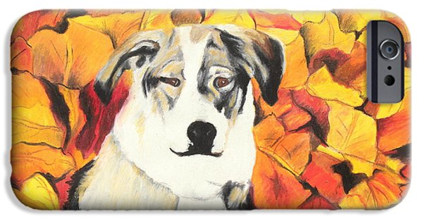 Dog In Landscape iPhone Cases - In  the leaves iPhone Case by Jeanne Fischer