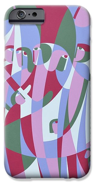 Figures iPhone Cases - In The Life, 1999 Acrylic On Board iPhone Case by Ron Waddams