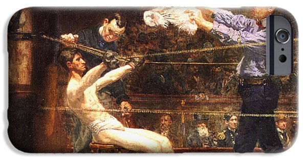 Boxer Digital Art iPhone Cases - In The Mid Time detail iPhone Case by Thomas Eakins