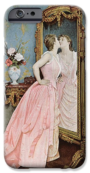 Auguste iPhone Cases - In the Mirror iPhone Case by Auguste Toulmouche