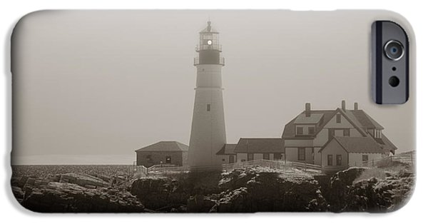 New England Lighthouse iPhone Cases - In the Mist iPhone Case by Joann Vitali