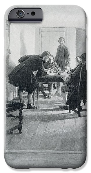 American Revolution iPhone Cases - In The Old Raleigh Tavern, Illustration From At Home In Virginia By Woodrow Wilson, Pub. In Harpers iPhone Case by Howard Pyle