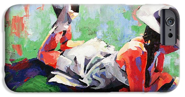 Young Paintings iPhone Cases - In the Pages iPhone Case by Julia Pappas