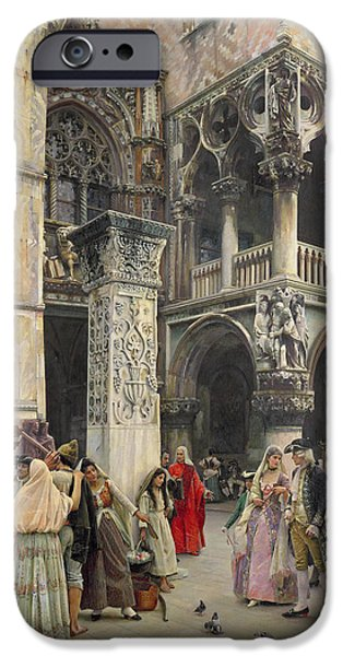 Venetian Balcony iPhone Cases - In the Piazzetta iPhone Case by William Logsdail