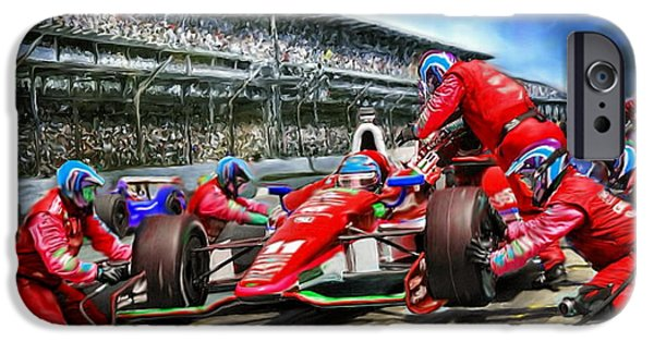 Indy Car Digital iPhone Cases - In the Pits  iPhone Case by Tom Sachse