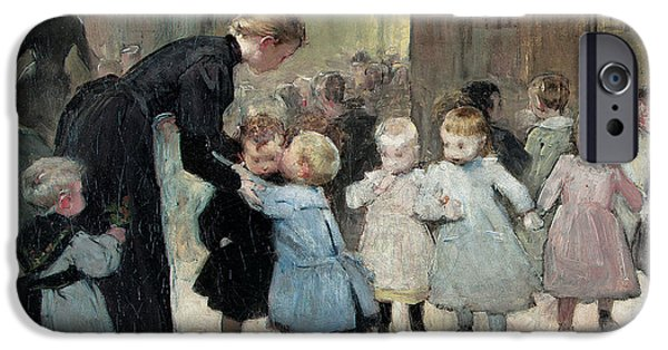 Innocence iPhone Cases - In The Playground Oil On Canvas iPhone Case by Henri Jules Jean Geoffroy
