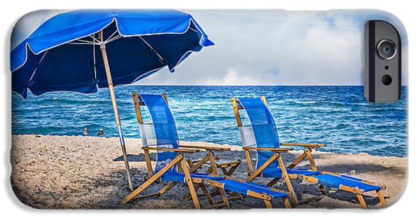 Adirondack Chairs On The Beach iPhone Cases - In The Shade iPhone Case by Debra and Dave Vanderlaan