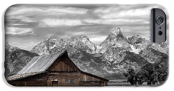Building Sculptures iPhone Cases - In the Shadow of the Tetons iPhone Case by Nena Trapp