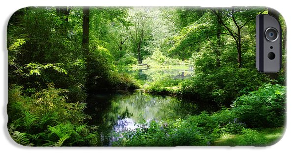 Nature Center Pond iPhone Cases - In the Stillness iPhone Case by Trina  Ansel