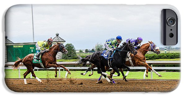 Keeneland iPhone Cases - In The Stretch iPhone Case by Paul Mashburn