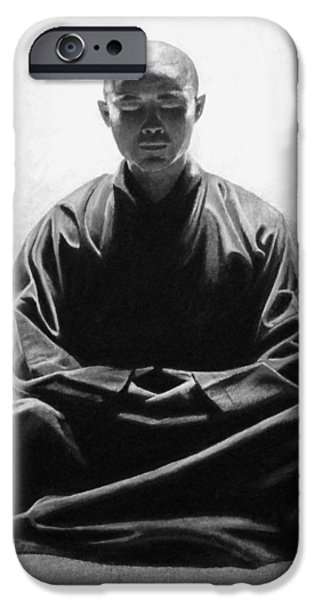Buddhism Drawings iPhone Cases - In the Temple of Light iPhone Case by Vishvesh Tadsare