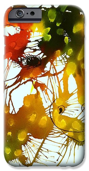 Splashy Paintings iPhone Cases - In The Wild iPhone Case by Ellen Levinson