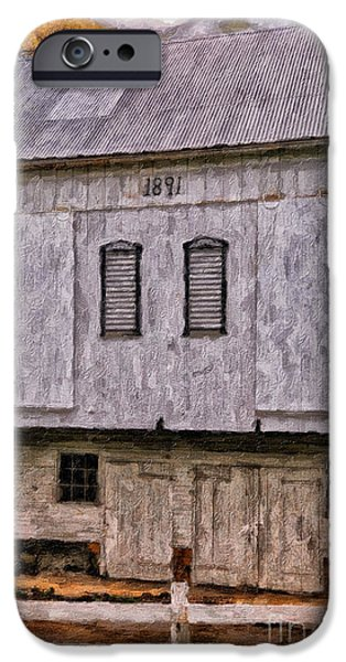 Old Barn iPhone Cases - In The Year 1891 iPhone Case by Lois Bryan