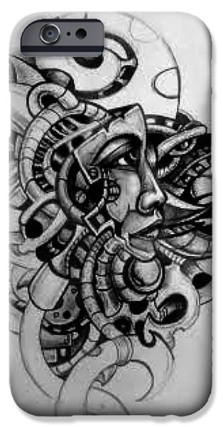 H.r. Giger iPhone Cases - In Time iPhone Case by Chris Gill
