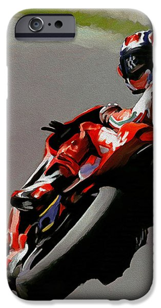 Casey iPhone Cases - In Victory Casey Stoner iPhone Case by Iconic Images Art Gallery David Pucciarelli