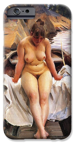 Row Boat Digital iPhone Cases - In Werners Rowing Boat iPhone Case by Anders Zorn