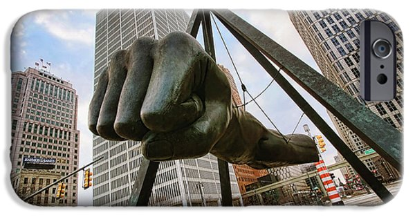 Arena iPhone Cases - In Your Face -  Joe Louis Fist Statue - Detroit Michigan iPhone Case by Gordon Dean II
