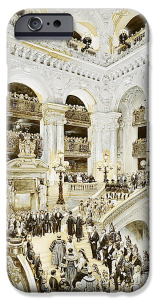 Opening iPhone Cases - Inauguration Of The Paris Opera House, 5th January 1875, 1878 Wc & White On Paper iPhone Case by Jean-Baptiste Edouard Detaille