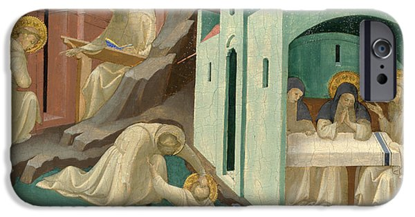 Benedict iPhone Cases - Incidents in the Life of Saint Benedict iPhone Case by Lorenzo Monaco