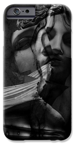 Statue Portrait iPhone Cases - Indecisive Cracks iPhone Case by Jerry Cordeiro